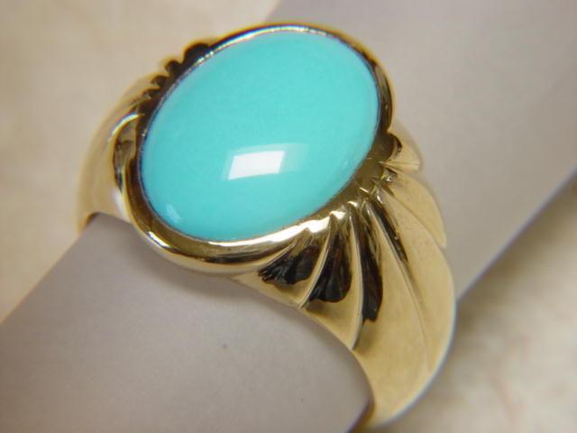 Sleeping Beauty Turquoise In Heavy 14 Karat Gold Ring