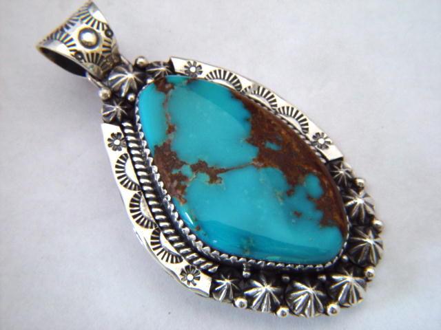 High Grade Bisbee Turquoise Pendant Carusetta Jewelry
