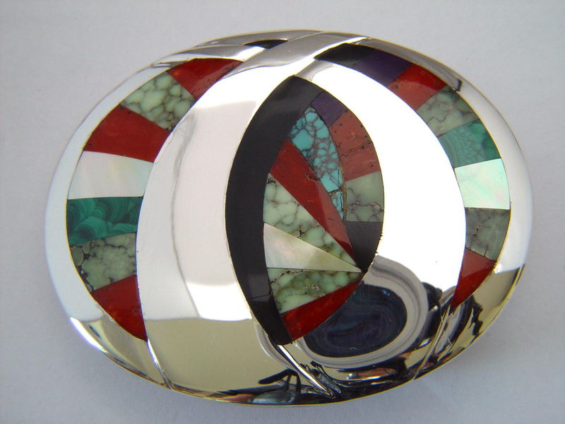 Sterling Silver Belt Buckle With High Grade Turquoise