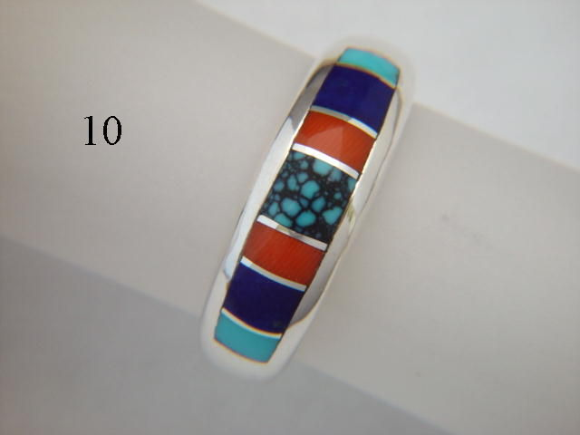 Turquoise Coral And Lapis Inlaid In Silver Ring 7 Mm