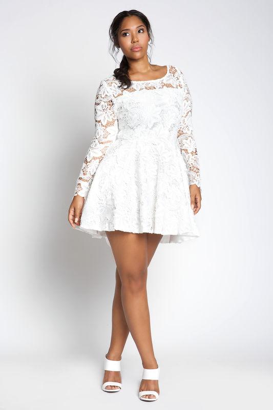 Plus Size White Skater Dress – Fashion dresses
