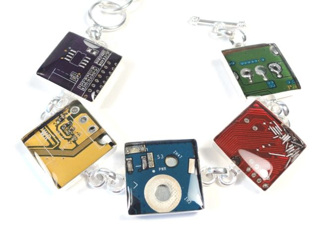 Circuit Board Necklace Orange Sterling Silver Jewelry Reclaimed