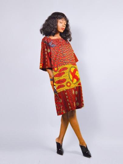 46a245da28b Red African print Carla Ankara Tunic Dress - sosome - Ready made ...