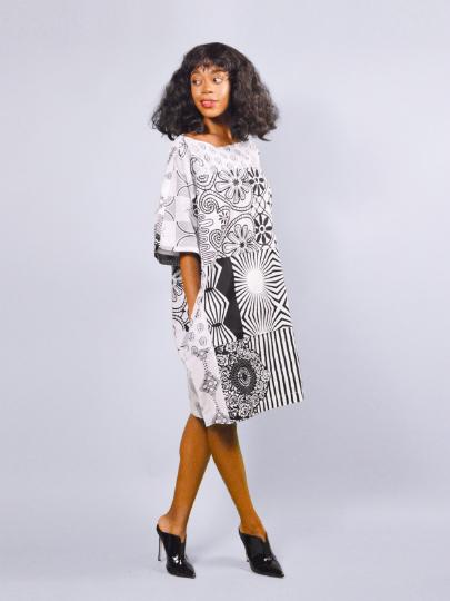 d60329668fc Carla white mix African Ankara Tunic Dress - sosome - Ready made ...