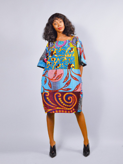 ee6af82a957 Carla Turquoise mix African Ankara Tunic Dress - sosome - Ready made ...