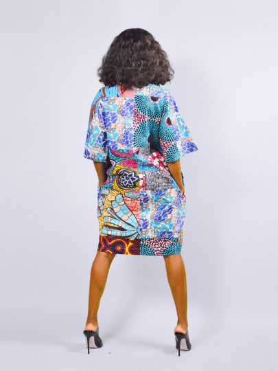 0fed73c9ffb Carla Turquoise mix African Ankara Tunic Dress - sosome - Ready made  African Print
