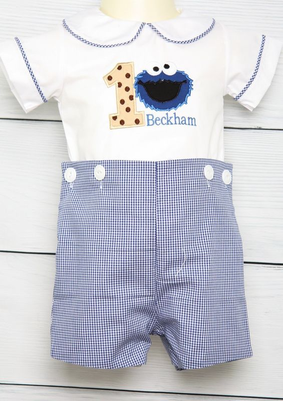 Cookie Monster 1st Birthday Outfit Boy Baby Sesame Street Ouftit 293126