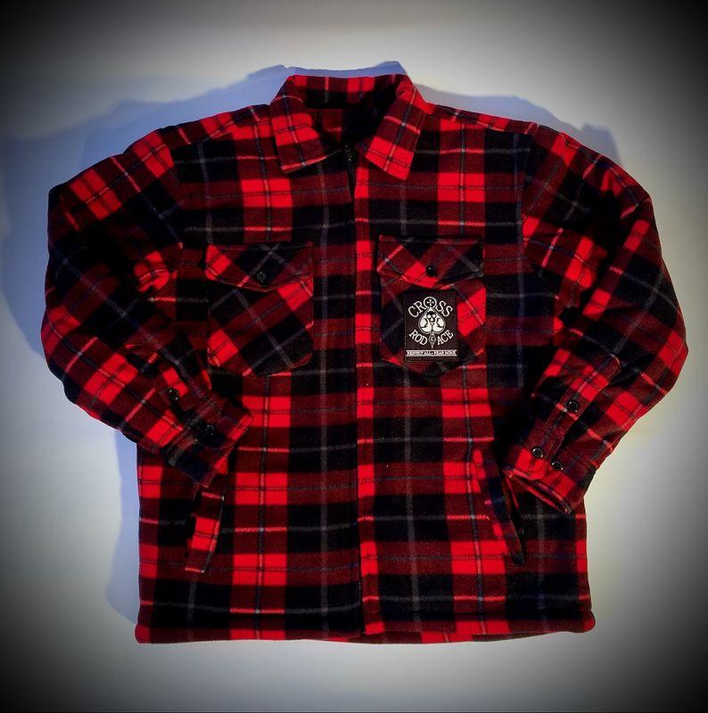 Lumberjack Padded Flannel Jacket Red Black Cross Rodace