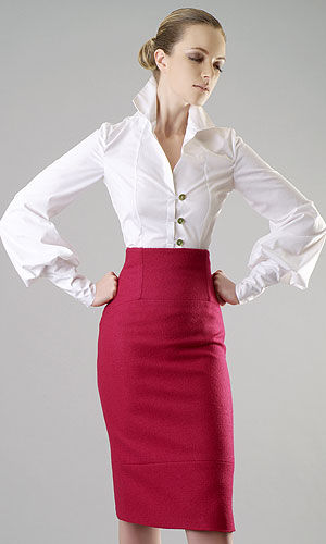 The Right Fit Pencil Skirt And Poet Sleeve Shirt