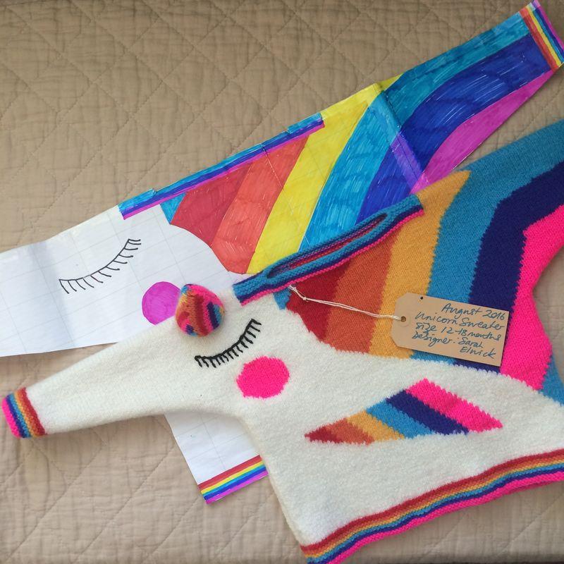 71122558cff410 Rainbow Unicorn Sweater (hand-knit pattern PDF only) - Sarah Elwick Knitwear