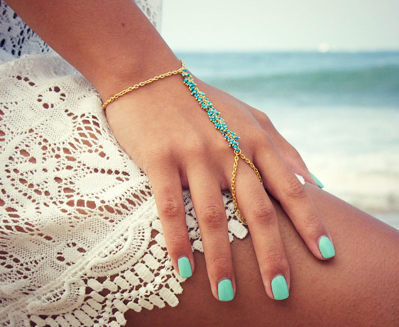 Lovmely Hand Chain Bracelet Turqouise Or C Product Images Of