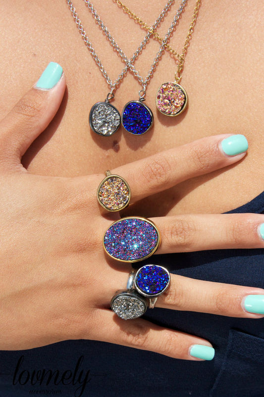 Drusy Druzy Quartz Necklace In Blue Gold Silver Or Purple Product Images