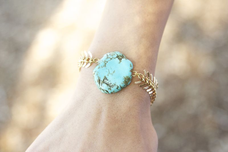 Gold Chain And Turquoise Stone Bracelet Product Images Of