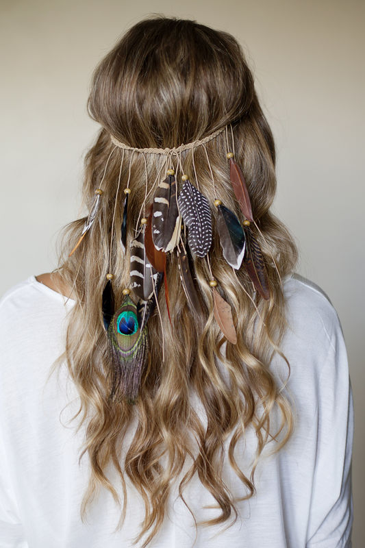 BOHO FESTIVAL FEATHER headband  hippie style   braided stretch band -  product images of f648294d1dd
