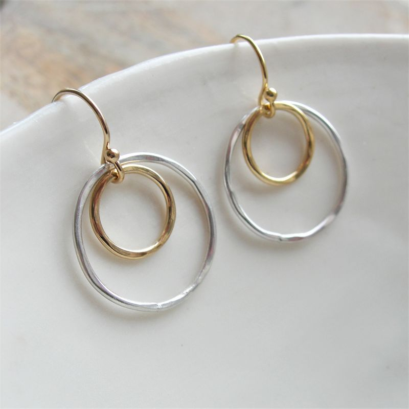 Hammered Silver and Gold Circle Earrings - product images of ef84207d5