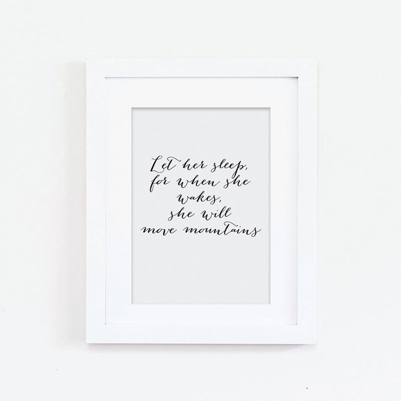 Nursery Print Let Her Sleep Print Quote Print