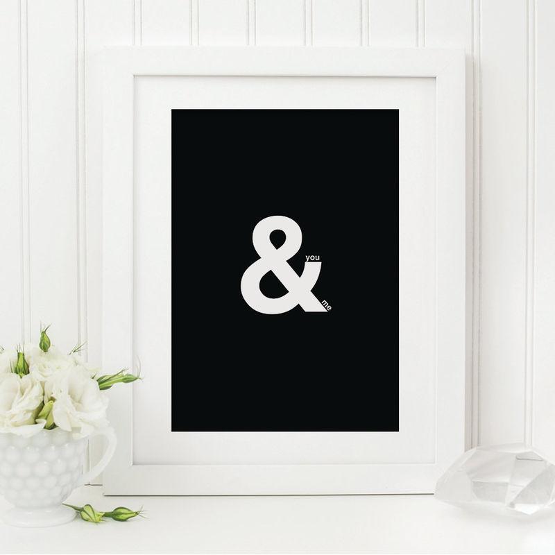 You me print ampersand print romantic print black and white print