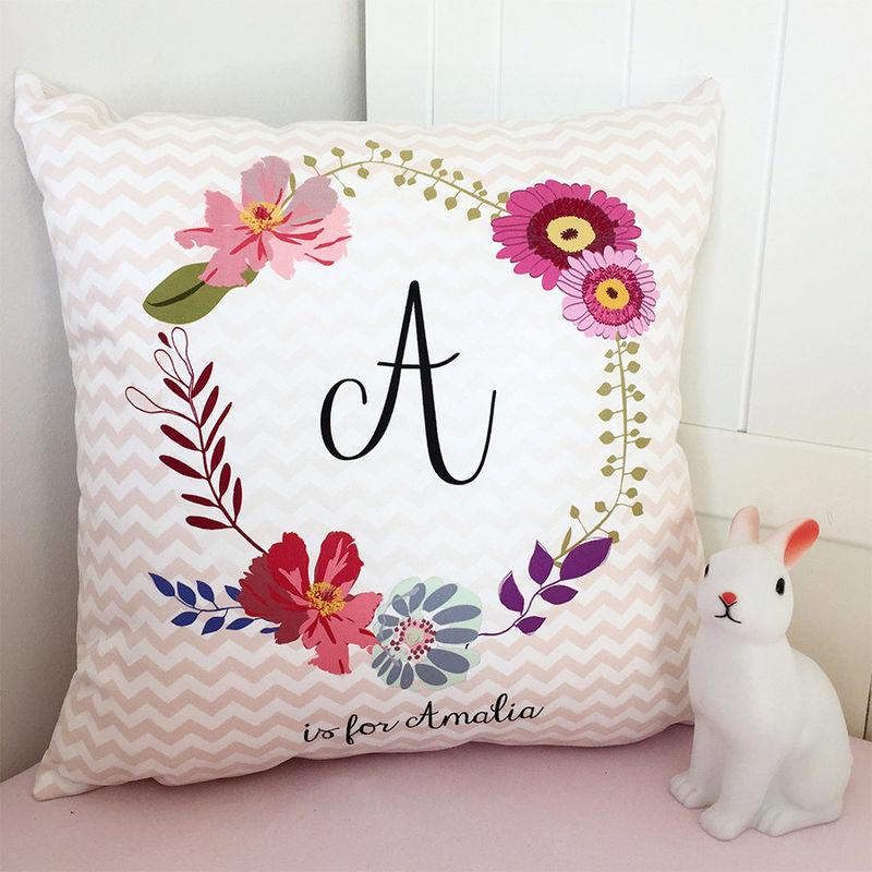 Fl Monogram Cushion New Baby Gift Personalised Nursery