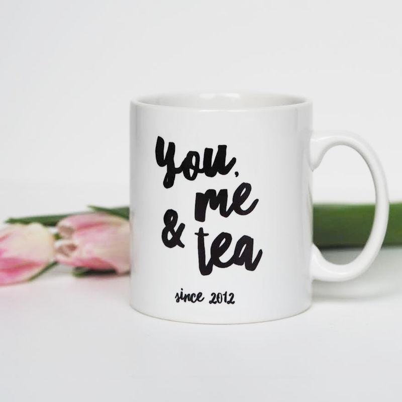 a1d56178ca0 You, Me and Tea Mug - Personalised Mug - Valentine's Gift - Anniversary Gift  - Mug - Sweetlove Press - Personalised Prints, Funny Cards, Cushions, ...