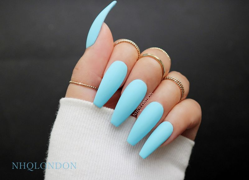Baby Blue Long Coffin Nails Nailstip