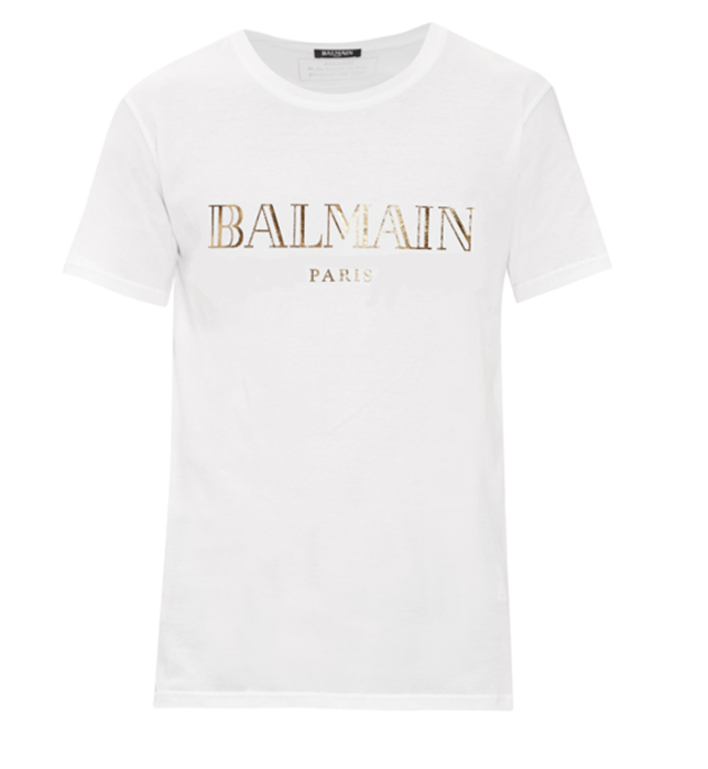 3bb22db10 Balmain Men's White Logo T-Shirt - Demand Attire