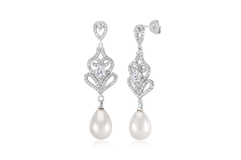 Bridal Earrings Wedding Pearl Jewelry Crystal Bridesmaids Statement Earring