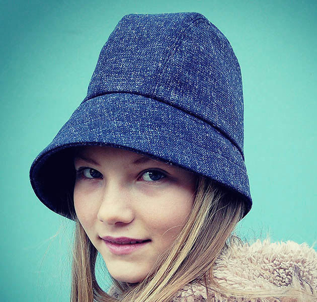 Tall blue tweed cloche ZUTangelique - ZUT hats b846883fc20
