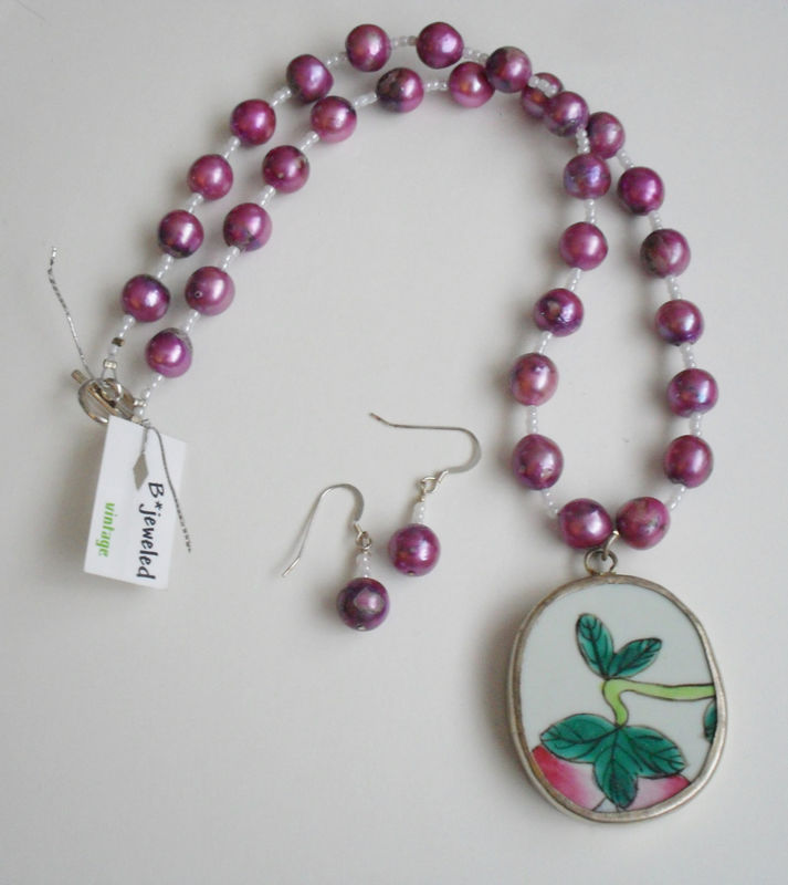 1b89b7e8c Ming Dynasty Antique Floral POTTERY SHARD Pendant Beaded Necklace & Earrings  SET / Purple Freshwater Pearl