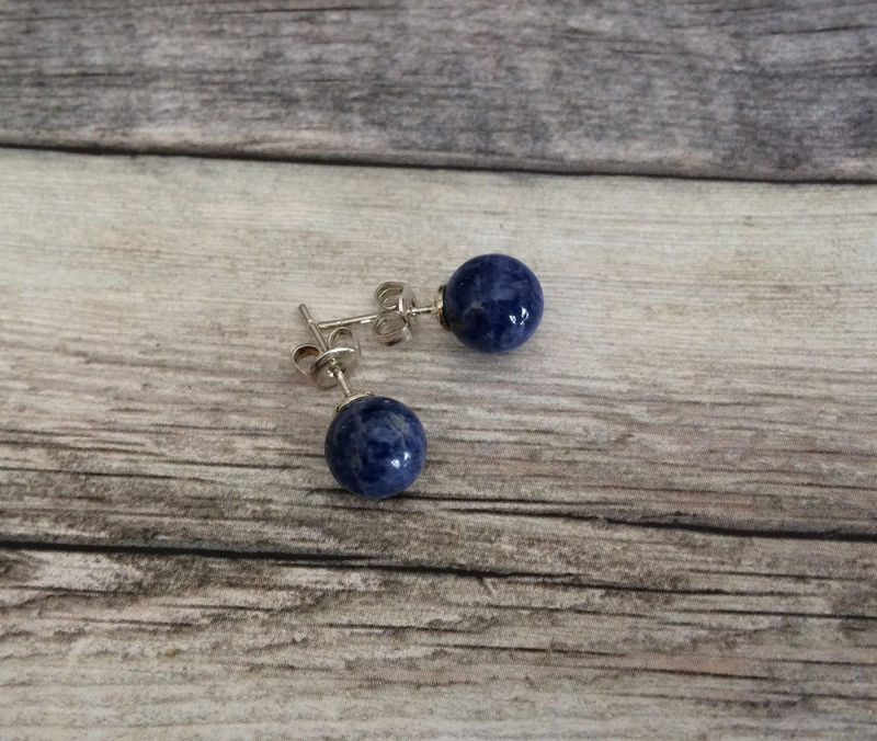 e09f38587 BLUE LAPIS Simple Stud Earrings / Lapis Lazuli Natural Stone Post Earrings  / Stone Ball Earrings