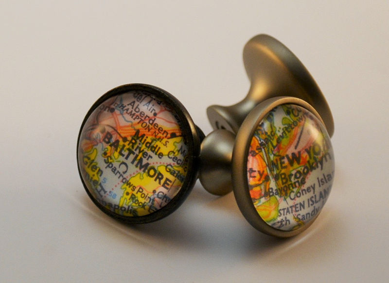 Custom Map Cabinet Knob Map Drawer Pull Glass Domed