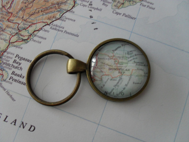 DOMINICAN REPUBLIC Map KEYCHAIN / Custom map keychain / Travel Souvenir on my travel group, my travel holidays, my travel itinerary, my travel agent, my travel health, my travel history,