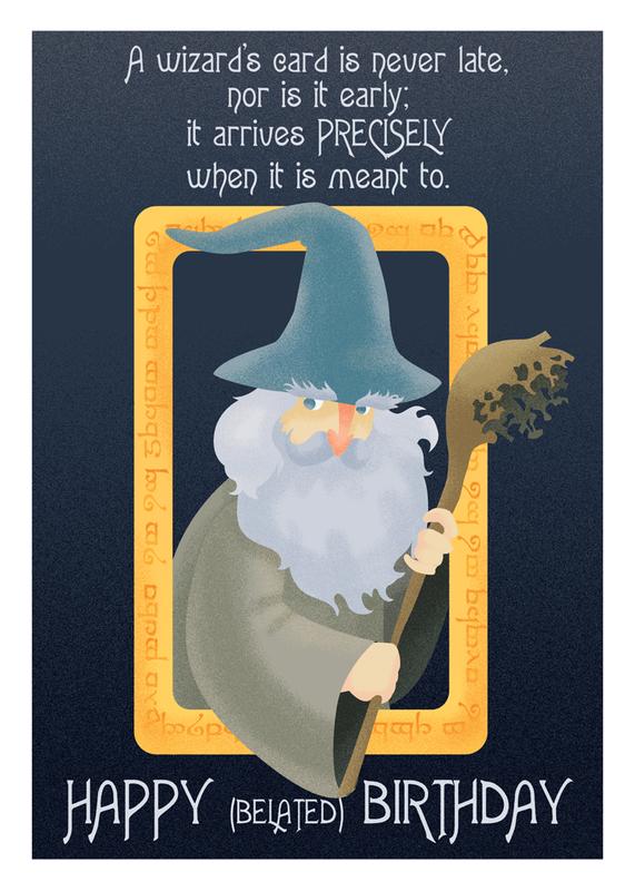 Belated Wizard Geeky Greeting Card