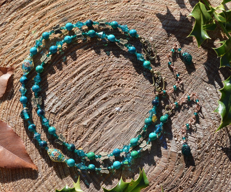 Chrysocolla Necklace In Jade Green And Teal Beads Green