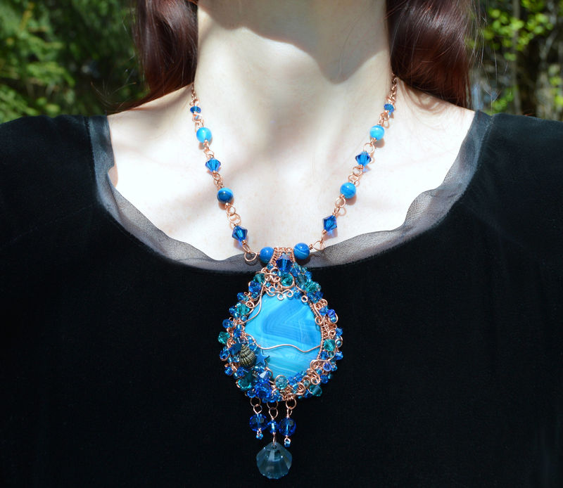 Sale Blue Crystal Mermaid Necklace Wire Wrapped In Copper