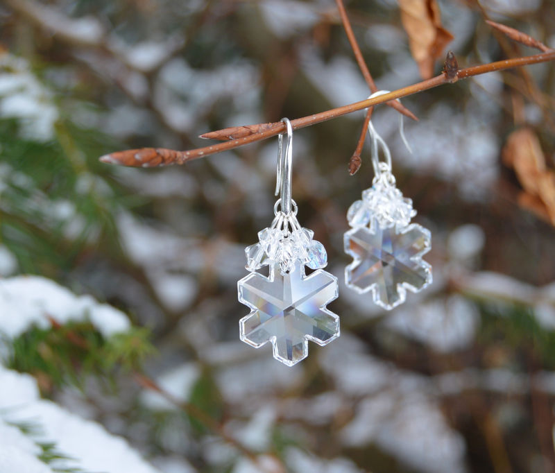 Crystal Snowflake Earrings Ice Queen Frozen Winter Fantasy Jewelry Clear Fairy White Witch Strega Herisson Rose