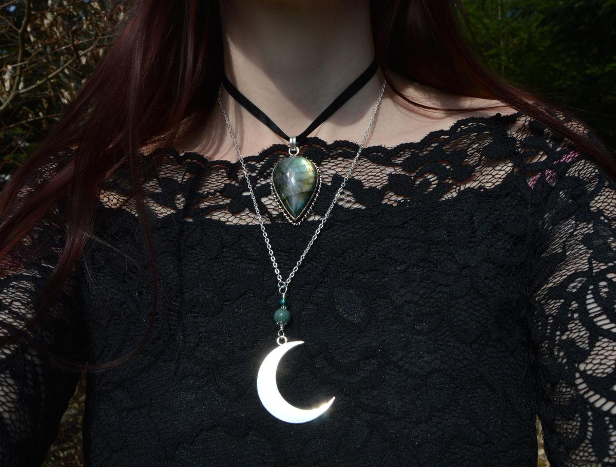 Semi Precious Moon Necklace Blue Goldstone Aquamarine