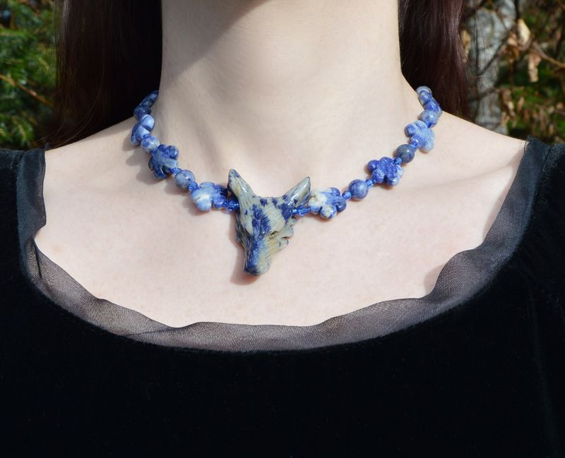 Blue Wolf Necklace Sodalite Jewelry With Swarovski