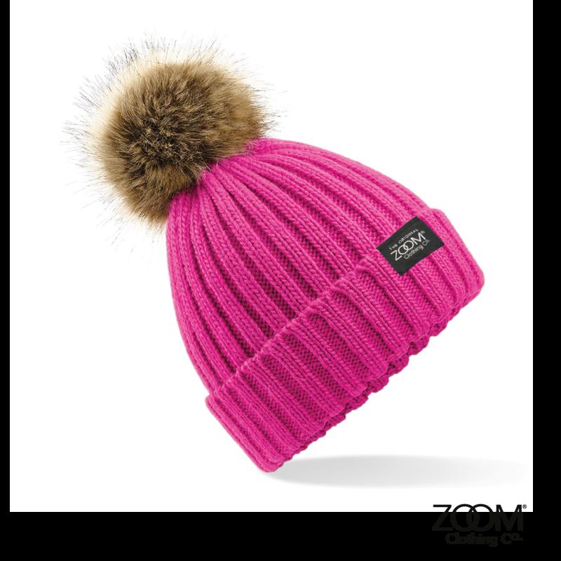 f887c163e30 Fur Pom Pom Hat pink - Zoom Clothing Company