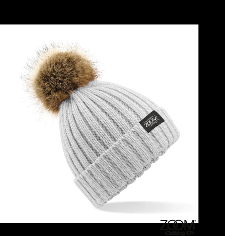 f635f3987ac Fur Pom Pom Hat Grey - Zoom Clothing Company