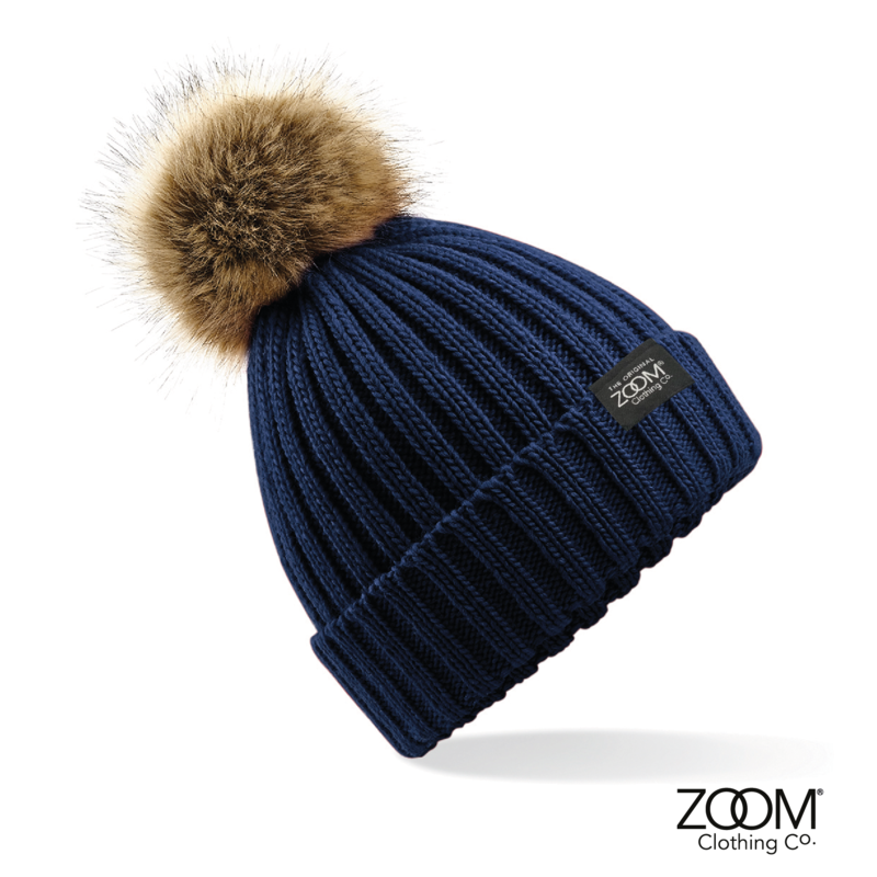 3f7416b36ca Fur Pom Pom Hat Navy - Zoom Clothing Company