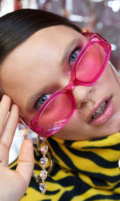 9194425670f Pink Clear Jelly Sunglasses