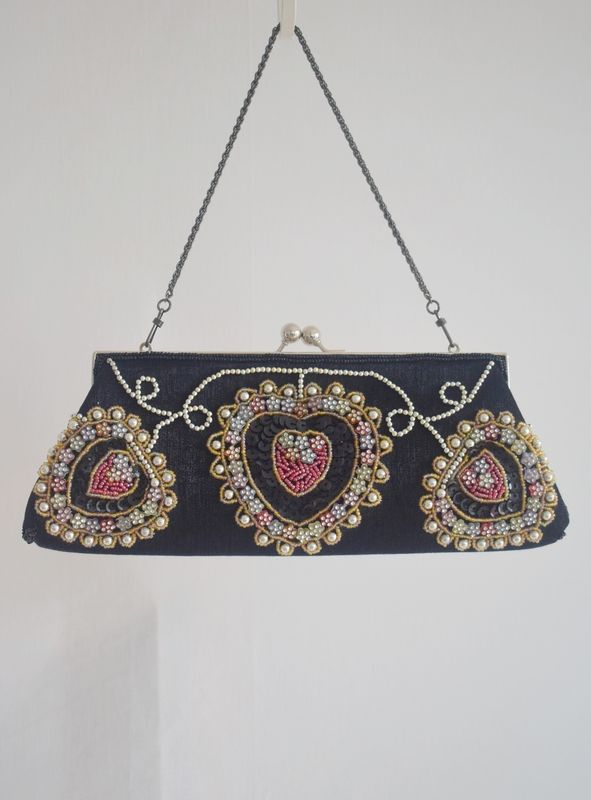 c815679fafe Handmade Retro Beaded Clutch Evening Handbag Black - product images of