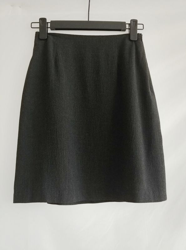 65a01ae3a7 90s Vintage Charcoal Wool Crepe Knee Length Skirt - product images of