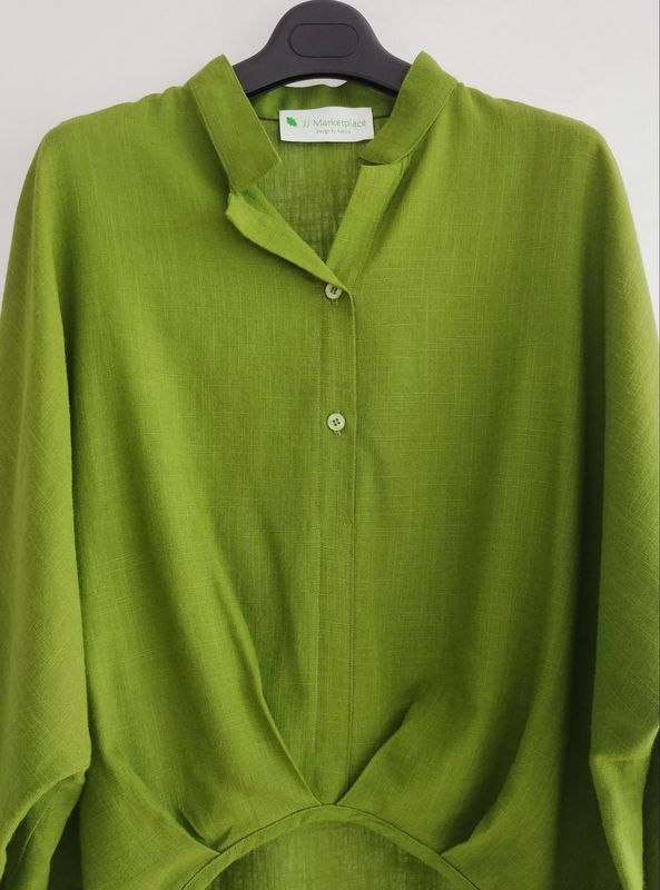 352154bb42a2bc New Silk Hemp Three Quarters Grown-on Sleeves Woven Shirt Blouse Lime Green  - product