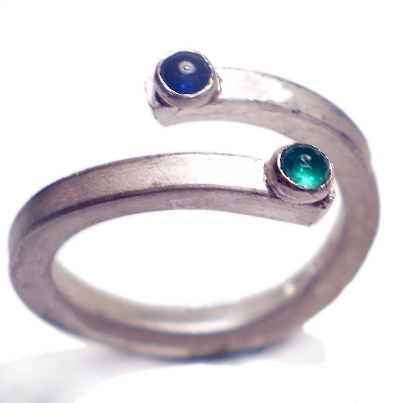 Sapphire And Emerald Adjustable Sterling Silver Ring