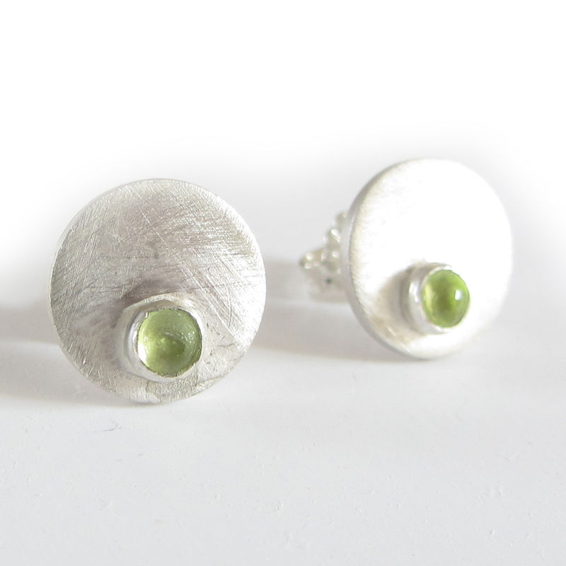 Dotty Spot Stud Earrings Sterling Silver And Peridot Cabochons