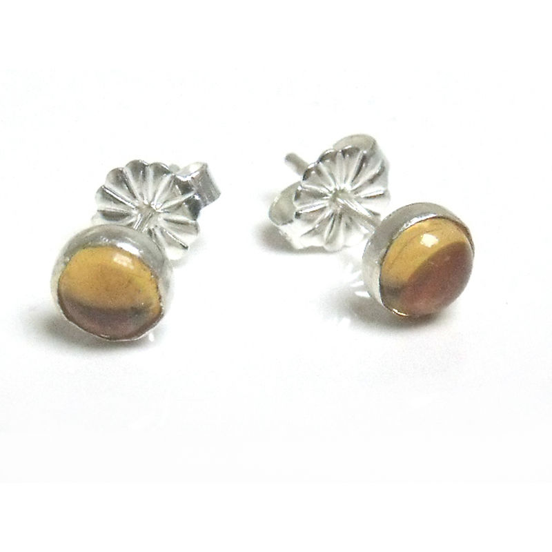 Round Stud Earrings With Yellow Citrine Cabochon Set In Sterling Silver 925 Dotty Collection