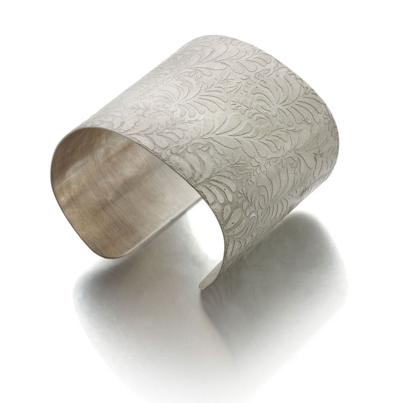 Volutes Photo Etched Sterling Silver Cuff Bracelet With Fl Pattern Catherine Marche Bespoke Fine Jewellery