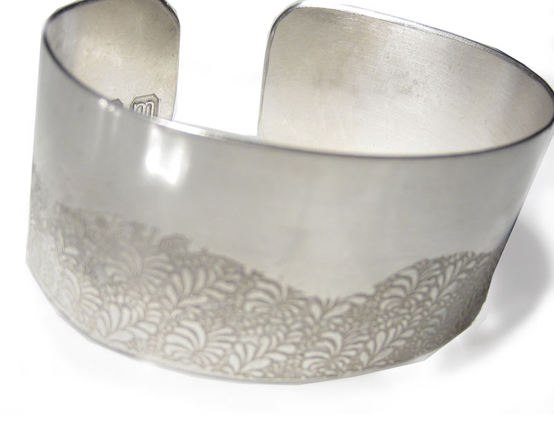 Volutes Photo Etched Sterling Silver Cuff Bracelet With Wave Fl Pattern Catherine Marche Bespoke Fine Jewellery
