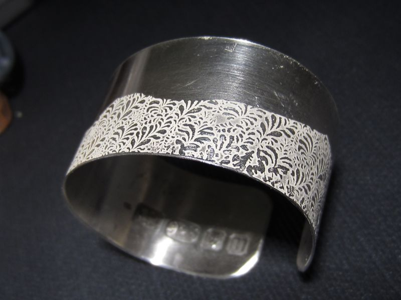 324258f0f0c Volutes Photo etched sterling silver Cuff Bracelet with Wave floral pattern  - Catherine Marche Bespoke Fine Ethical Jewellery